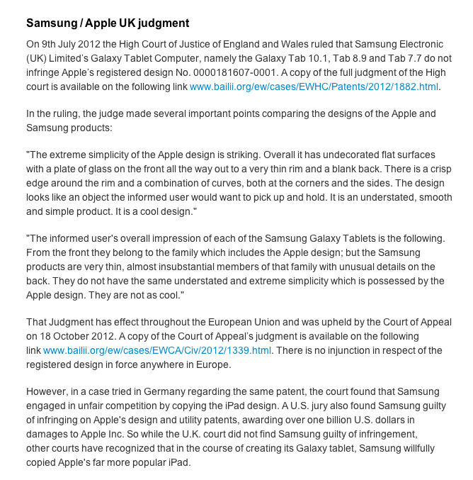 "Apple Inc (AAPL) ""Samsung/Apple UK judgement,"" October 26, Apple UK"