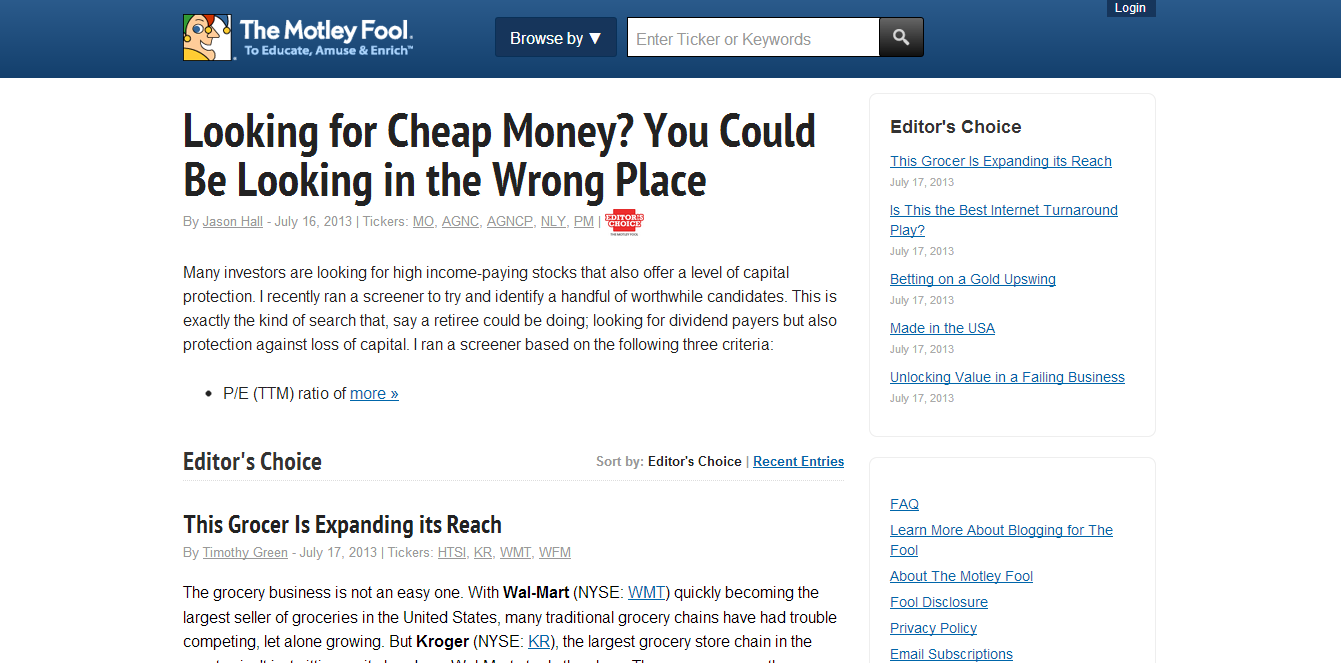 The Motley Fool Blogging Network