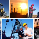 Workers in an Oilfield Oil Drilling Halliburton HAL BHI SLB XOM CVX BP Stocks
