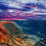 mining, australia, gold, western, iron, ore, pit, open, metal, stone, sunset, dust, cloud, deep, sky, silver, sunlight, truck, earth, biggest, travel, red, wide, panoramic, digging, horizon, orange, sun, crater, dirt, wa, super-pit, open pit, kalgoorlie, huge, gold mine, lucrative, industry, pit mine, large, land, road