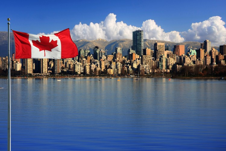 Canadian flag, port, water, buildings, city