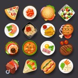illustrative, food, vector, icon, fast, pizza, menu, plate, salad, dinner, meal, cooking, dish, elements, lunch, fastfood, chicken, snack, background, meat, kitchen, object, soup, set,