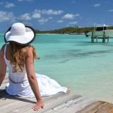 beach, resort, girl, hotel, island, shore, blond, green, hat, wide, horizon, paradise, recreation, dress, brim, exuma, woman, waiting, relax, tropic, sea, turquoise, romance