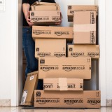 Amazon.com, Inc. (NASDAQ:AMZN), Boxes, Parcel, Retail, Order, delivery, post, shipping, stack
