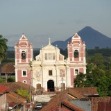 church, nicaragua, leon, america, town, central, urban, scenery, religious, church, architecture, city, catholic, panorama, religion, ancient, colonial, monument, volcano, landscape, facade, cityscape