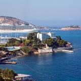 kusadasi, turkey, beach, resort, town, port, homes, tourism, hotel, hill, ferry, cruise, island, embankment, coast, brick, seaside, travel, landmark, castle, summer, seafront,