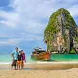 krabi, sunlight, thailand, daylight, travel, line, horizon, sunshine, wave, tourist, family, wood, beach, speed, tourism, sea, ocean, island, tropical, sand, traveller, summer, traveler, blue, sky, boat, scene, travelling, sandy