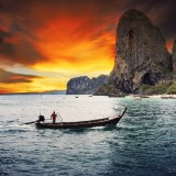 thailand, railay, longtail, phuket, holiday, tour, beach, scape, island, destination, tropical, travel, tail, rock, landmark, summer, ship,