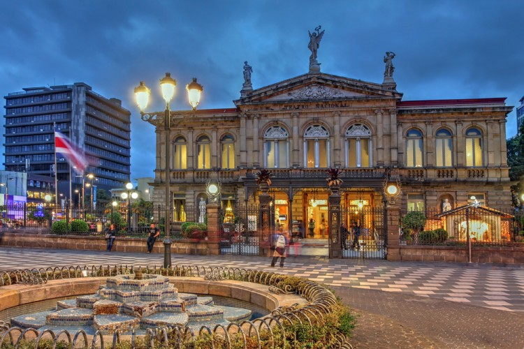 costa, rica, san, jose, theater, theatre, night, sunset, teatro, america, travel, central, old, open, people, twilight, of, architecture, fountain, neoclassical, square, latin,