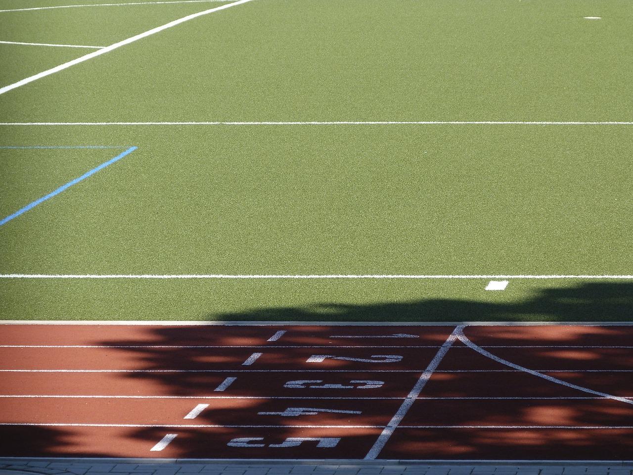 running, track, finish line