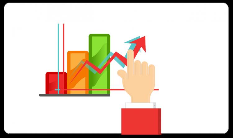 arrow, data, up, rising