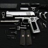 gun, weapon, handgun, firearm, part, repair, stripped, metal, isolated, fire-arm, defence, put, pistol, nobody, disassembled, white, construct, field, springs, s, vertical,