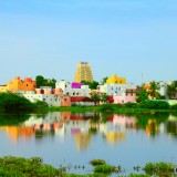 sacred city Kanchipuram (Kanchi) with colorful traditional houses, gopura of Hindu Temple
