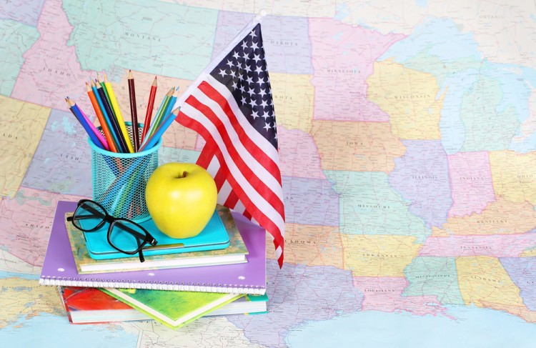 american, back, books, desk, education, equipment, flag, glasses, jar, learn, life, map, multicolored, notebook, patriotic, pencil, pile, school, still, studying, supplies, teach,