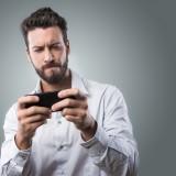 playing, man, mobile,