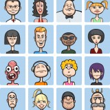 face, vector, cartoon, fat, collection, set, guy, cowboy, bald, human, portrait, woman, various, isolated, mustache, blond, white, head and shoulders, expression, african