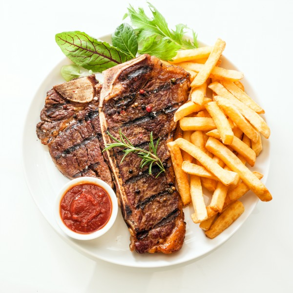 steak, top, view, food, salad, plate, beef, bone, french, t, grilled, bbq, down, white, junk, meat, photo, tbone, background, ketchup, fast, chips, meal, table, on, brown, snack, porterhouse, steakhouse, serving, tenderloin, rosemary, diner, tasty, local, savory, herb, angle, sauce, fries, isolated, aerial, barbecue, delicious, red, new, restaurant, vegetable, t-bone, high, dip, fresh, portion