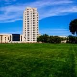 bismarck, capitol, building, capital, lawn, trees, state capitol, art deco, great depression, north dakota, skyscraper, government, legislature, clouds, house of government,