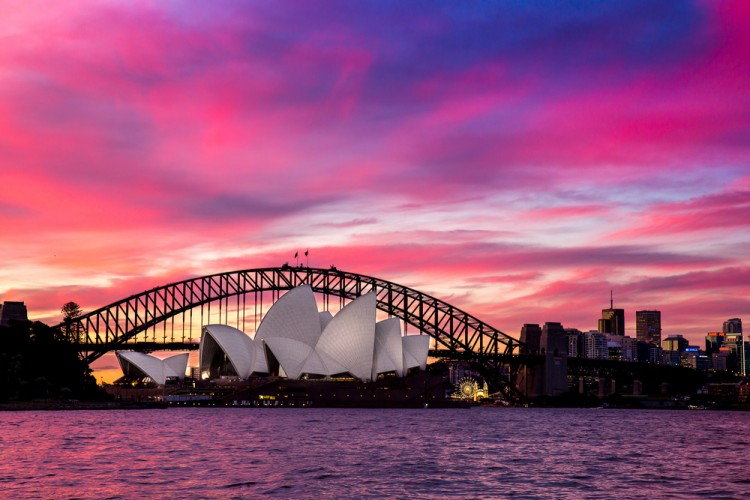 sydney, harbour, australia, sidney, australian, sunset, view, night, evening, opera, travel, illuminated, business, skyline, twilight, tourist, architecture, concert, house, bay,