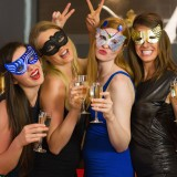costume, bar, laughing, leisure, fun, attractive, sparkling wine, laughter, hedonistic, light hair, friendship, clubbing, luxury, celebration, masquerade mask, alcohol,