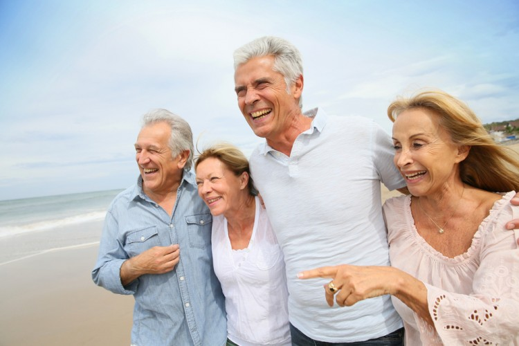 old, group, friends, leisure, fun, years, european, happiness, embracing, walking, 60-65, people, caucasian, elderly, women, togetherness, holidays, lifestyle, beach, 11 US Cities with the Most Pleasant Weather for Retirees