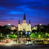 new, quarter, french, jazz, night, cathedral, andrew, square, horse, travel, skyline, dusk, twilight, tour, jackson, orleans, sightseeing, church, traveler, center, city, blue, carriage, monument, driven