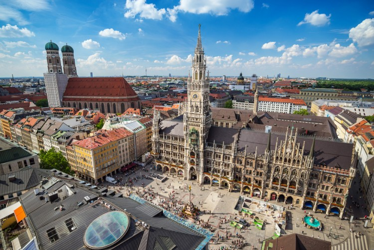 munich, marienplatz, aerial, square, town, view, landmark, attraction, skyline, germany, frauenkirche, bavaria, hall, building, church, famous, architecture, city, munchen, europe