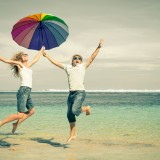 umbrella, beach, flying, young, girl, jumping, fun, travel, boy, summer, ocean, leisure, two, tropical, day, happiness, success, holiday, friendship, walking, active, playing,