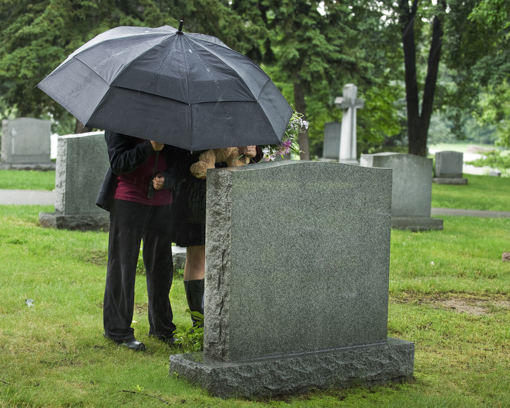 grave, umbrella, stone, rain, dead, children, bear, young, site, wet, tomb, cemetary, cemetery, flowers, trees, funeral, teddy, grass, outside, people, black, female, buried,