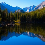 park, mountain, tree, national, rocks, rocky, deep, lake, dark, skies, pine, still, shoreline, cool, colors, blue, rich, water, reflections