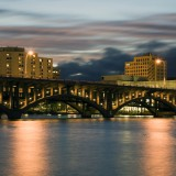 rockford, usa, river, cloud, built, night, reflection, architecture, sunset, sky, midwest, bridge, office, cloudscape, illinois, structure
