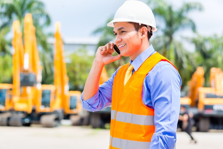 rental, phone, mining, engineer, hardhat, asian, heavy, machinery, digger, telephone, indonesian, male, orange, people, worker, supervisor, equipment, protection,