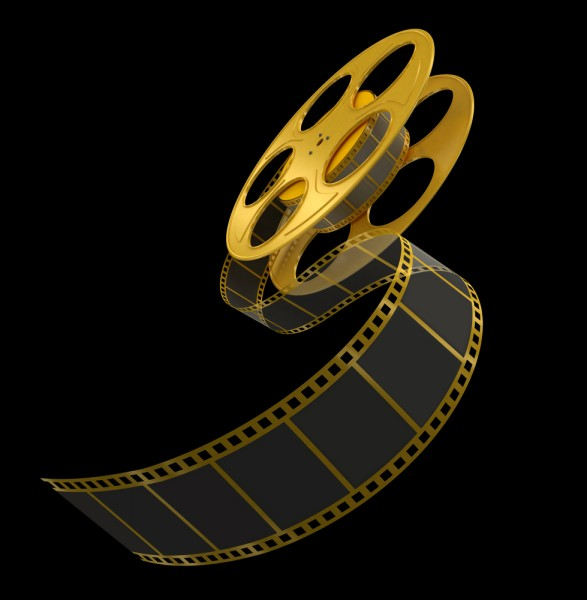 film, strip, gold, black, filmstrip, shooting, 3d, broadcasting, computer graphic, nobody, movie, media, render, isolated on black, video, film reel, sprocket, film industry,