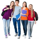 casual, celebration, cheerful, cheering, college student, cut out, ecstatic, education, energy, excitement, four people, friendship, group of people, happiness, high school student, holding, human teeth, isolated, male, men, smiling, student, success, teenage girls, teenager, teenagers only, vertical, victory, white background, women