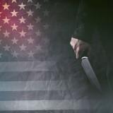 america, concept, crime, criminal, flag, grunge, hand, homicide, killer, knife, male, man, murder, murderer, psycho, retro, serial, sharp, states, toned, united, usa, weapon