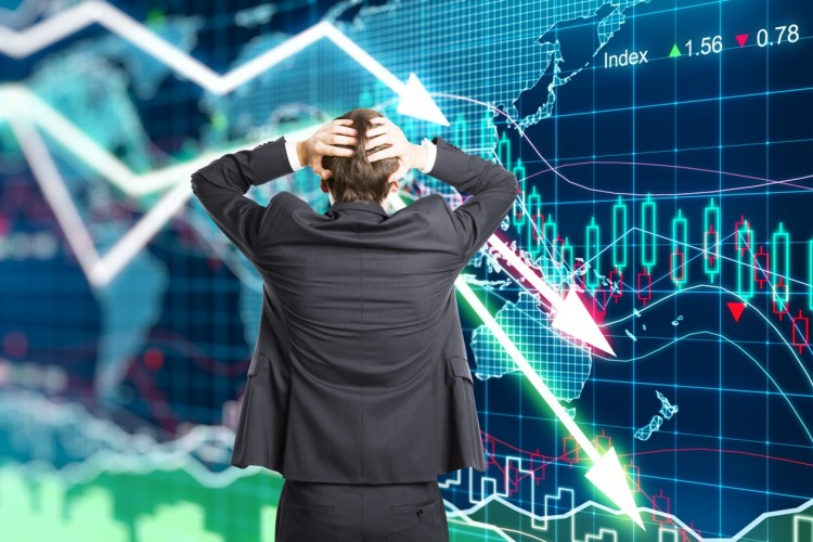 Illustration of the crisis concept with a businessman in panic, market crash, declines, stock market, insider trading, wall street